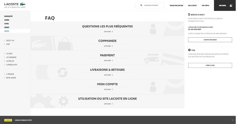 Apercu de l'assistance en ligne proposée par Lacoste pour toutes vos questions