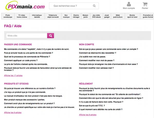 Page d'aide du site de vente en ligne Pixmania.fr