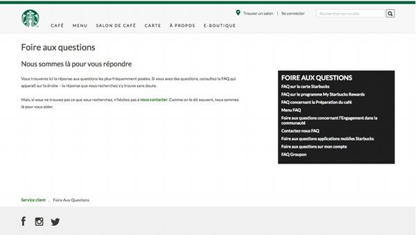 Page de contact officielle du site en ligne Starbucks