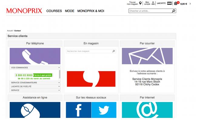 Page de contact officielle des Magasins Monoprix