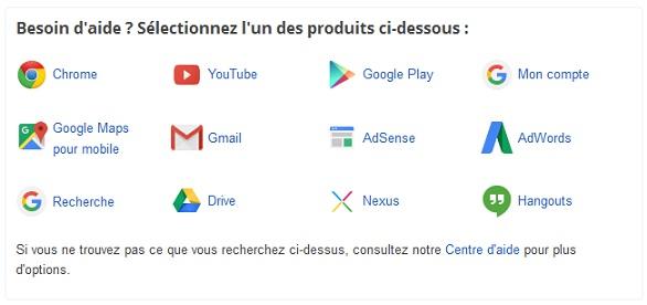 Aperçu du centre d'aide en ligne de Google.