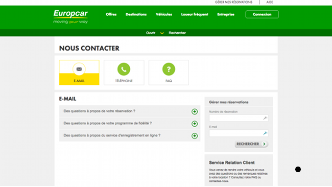 Page d'aide d'Europcar