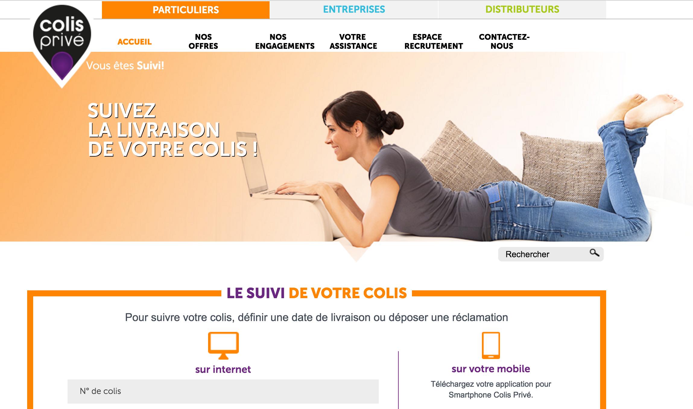 Page d'Accueil du site internet Colis Privé