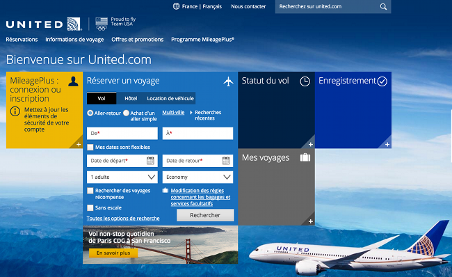 site internet united airlines