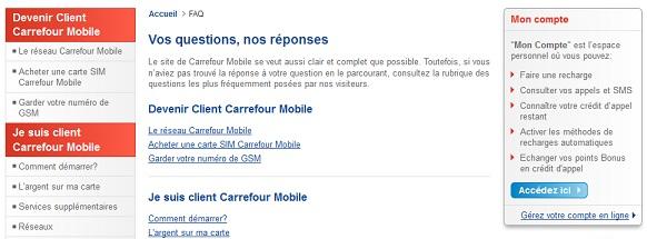 Aperçu de la FAQs du site Carrefour Mobile.