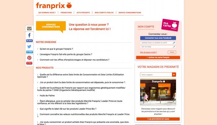 Page d'aide du site officiel de Franprix