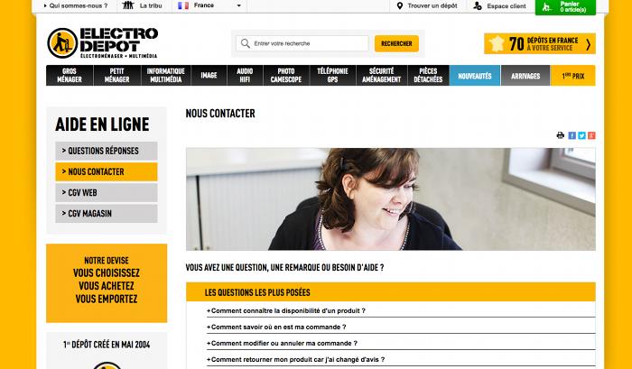 La rubrique Contact du site officiel de Electro Dépôt
