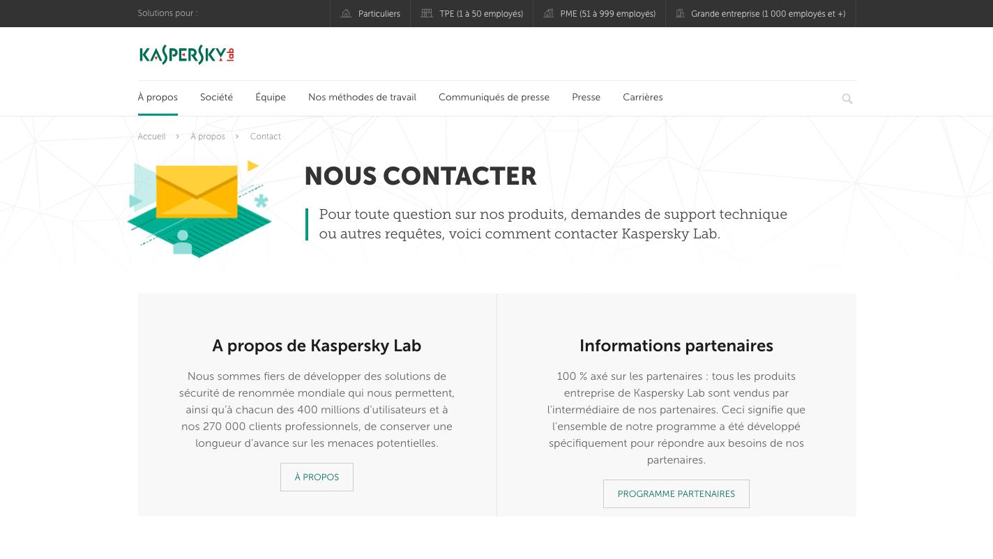 Page de contact Kaspersky