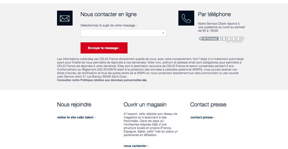 Capture écran formulaire du site Celio