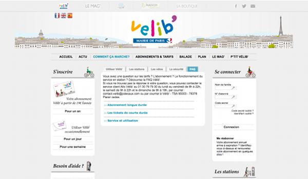 Aperçu du site officiel Velib'