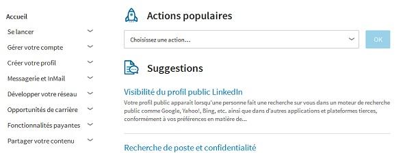Aperçu de la FAQ du site LinkedIn