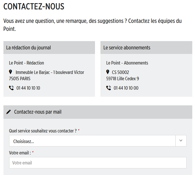 contacter le point
